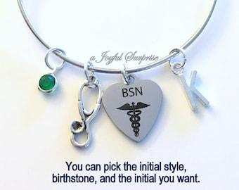 Gift for BSN Nurse Charm Bracelet, Nursing Jewelry Stethoscope Adjustable Bangle Silver initial Birthstone Birthday Present Graduation her