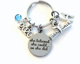College Graduation Gift for Her Keychain, 2020 University Grad Student Key Chain, She believed she could so she did Present Canadian Seller