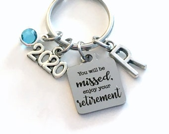 2021 Retirement Keychain, You will be missed, enjoy your retirement Key Chain, Coworker Keyring, Gift for Boss Initial Birthstone present