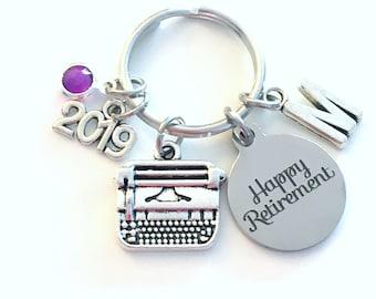 Retirement Gift for Women Keychain, 2019 for Secretary Key chain, Typewriter Keyring Coworker Initial letter birthstone women Journalist her