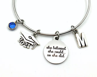 2021 Grad Cap Charm Bracelet, Graduation Gift for Teenage Girl Jewelry Silver Bangle, She believed she could so she did can hat mortar board
