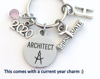 Architect Graduation Present, 2021 Architecture Keychain, Gift for Architectural Technology Student, Key Chain Grad Keyring him her 2021