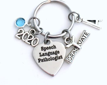 Graduation Gift for Speech Language Pathologist Keychain, 2020 Speech Therapy Key Chain, Initial Birthstone Grad Present Keyring 2019 SLP