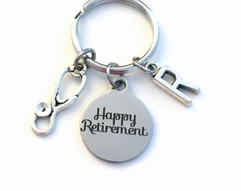 Retirement Gift for Nurse Keychain, 2021 Doctor Key chain,  Medical Hospital Staff Keyring, Happy Retirement present stethoscope him her men