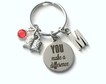 Volunteer Appreciation Gifts Key Chain, You make a difference Keychain, Thank you present for reading helper, Librarian Assistant School