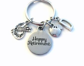 Retirement Gift for Kindergarten Teacher Keychain, 2020 Preschool Educator Art Teach Apple Key chain Keyring Retire Initial letter Pre Her