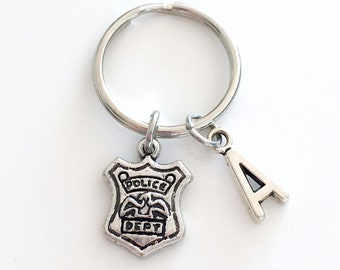Police Keychain, Gift for Officer Key Chain, Emblem Shield Present Dept. Policeman Keyring, Policewoman Key Chain, women men man chief dad