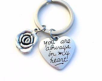 Valentine's Day Gift for Girlfriend, Heart Keychain, Mother of the Bride Groom present, Rose Key chain, You are always in my heart Keyring