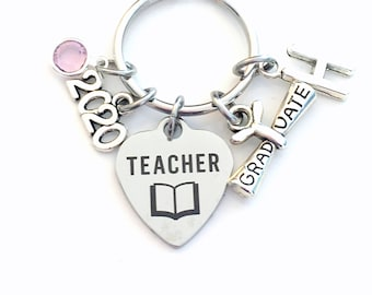 Graduation Gift for Teacher Keychain, 2020 Scroll Principal Teach charm Key chain Keyring Grad birthstone Initial letter for her women purse