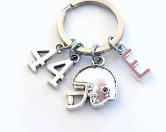 Football Jersey Number Keychain, Helmet Key Chain,  Gift for Player, Hockey, Soccer, Softball, Ringette Keyring Charm 1 2 3 4 5 6 7 8 9 44