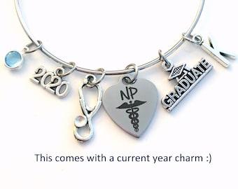 NP Graduation Bracelet / 2021 Nurse Practitioner Gift / Nursing Student Grad Silver Bangle / custom letter NP Graduate Jewelry for her