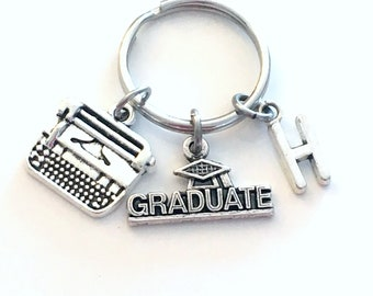 Graduation Gift for her or him Keychain, Secretary Key Chain, Journalist Reporter Keyring, Writer Author Grad Initial letter Men him man