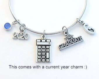 2021 High School Graduation Bracelet, Graduation Gift for CPA Jewelry, Calculator Math Present for Student Grad University College Masters