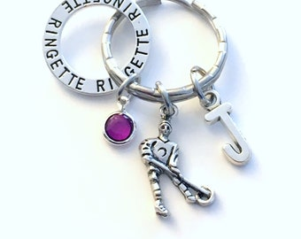 Ringette Keychain, Gift for Ringette Player Key Chain, Silver Team Sport Keyring, Coach Present, Letter Initial Custom Personalized Charm