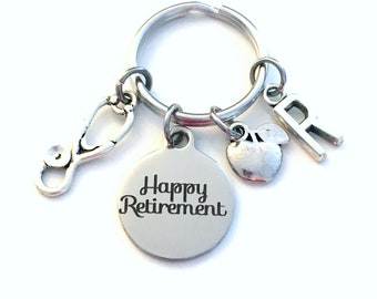 Retirement Gift for School Nurse Keychain, 2020 Nursing Educator Teach Stethoscope Apple Key chain Keyring Retire Initial letter dietitian