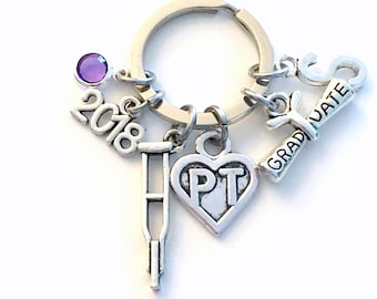 Graduation Gift for PT Keychain, 2018 Physical Therapist Key Chain, Therapy Keyring for her women letter initial Scroll Crutches Crutch 2019