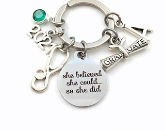 Personalized Nursing Graduation Gift Keychain, 2021 She believed she could so she did can Key Chain Canadian Seller Stethoscope birthstone