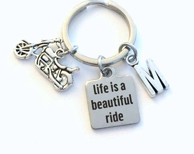 Featured listing image: Life is a beautiful ride KeyChain, Motorcycle Keyring, Biker's Key chain, Gift for Man or women, Father's Day Gift mom initial letter custom