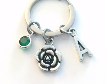 Mother's Day Gift for Mom / Flower Keychain / Rose Key Chain / Small Floral Keyring / Silver Peony Jewelry / Mommy Present from kids