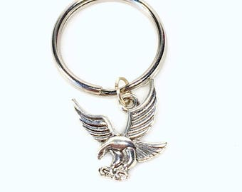 Flying Eagle Key chain, Eagle Keychain, Gift for American New Citizen Present Keyring, iconic symbol Men Him, courage strength immortality