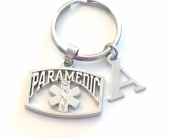 Paramedic Keychain, EMT Key Chain, Emergency Medical Gift, Emblem Symbol Keyring Initial Letter EMS star of life seller in PEI Canada