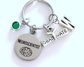 Neuroscientist KeyChain, Gift for Neurologist Graduation Present, Scientist Key Chain Keyring Jewelry Initial Birthstone present women men
