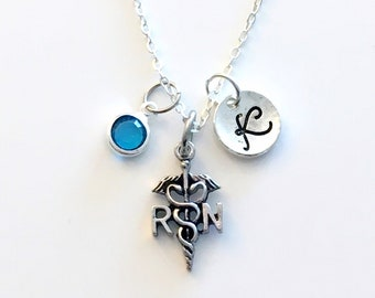 Personalized Nurse Gift, RN Necklace Charm Necklace, Custom Nurse Present, Silver Jewelry with initial & birthstone her him women men letter