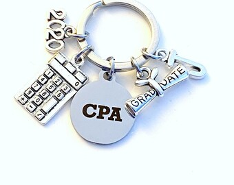 CPA Graduation Key chain, 2020 Chartered Professional Accountant Present Keychain Gift for Grad Keyring Initial present him her jewelry 2021