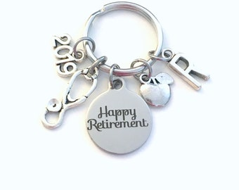 Retirement Gift for School Nurse Keychain, 2019 Nursing Educator Teach Stethoscope Apple Key chain Keyring Retire Initial letter dietitian