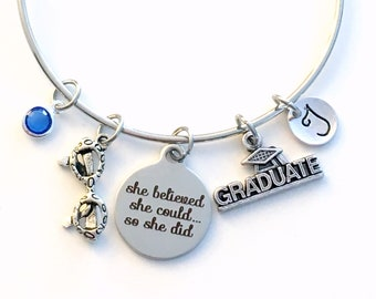 Optometry Graduation Bracelet, Gift for Optometrist, She believed she could so she did Jewelry Grad Bangle, Graduate Charm present glasses