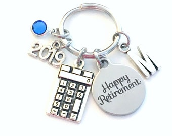 Math Teacher Retirement Gift Keychain, 2019 for Bookkeeper Key chain Accountant Keyring Coworker Initial letter birthstone women professor
