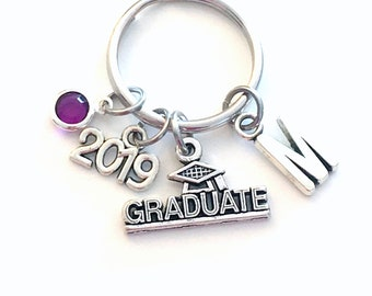 Graduation Gift for Her Keychain, Graduate Key Chain, Grad Keyring Jewelry 2019 Initial Birthstone present women Congratulation Teen girl