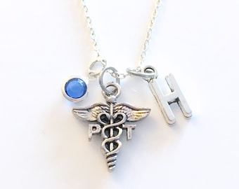 PT Gift, Physical Therapy Necklace, Therapist Jewelry, Silver Caduceus Charm Personalized present for men women him her Canadian Seller shop