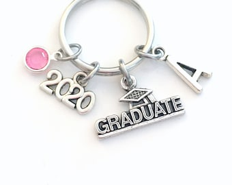 Graduation Gift for Her Keychain, Graduate Key Chain, Grad Keyring Jewelry 2020 Initial Birthstone present women Congratulation Teen girl
