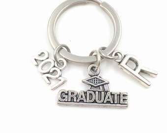 2021 Graduation Key Chain / Gift for Grad Keyring / Graduate Keychain / Grad Present for Student / with letter initial 2020 2022