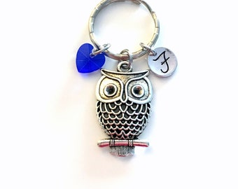 Personalized Owl Keychain, Silver Owl Charm KeyRing, Filigree Owl Key Chain, Wise Owls Gift Jewelry initial heart shaped dangle purse  94