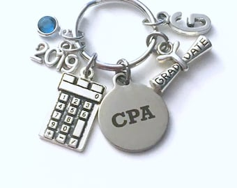 Graduation Gift for CPA Keychain, Accountant Key Chain, Chartered professional accountant Initial Birthstone Grad Present Keyring women her