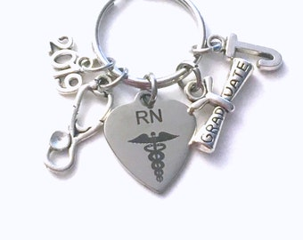 RN Graduation Gift Key Chain RN Keychain 2019 Registered Nurse Grad Present for Medical Student Stethoscope Keyring Male women man
