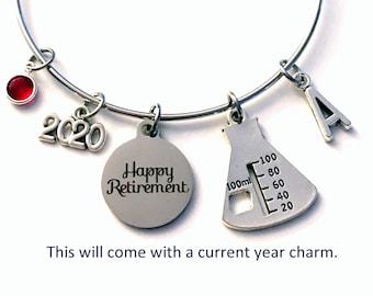 Retirement Gift for Chemist Jewelry / 2021 Laboratory Technician Charm Bracelet / Tech Beaker Women / Science Present