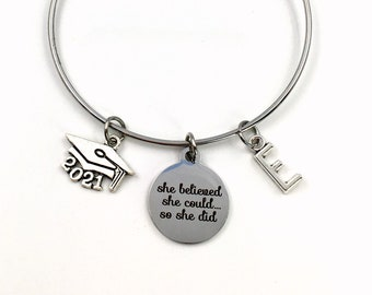 Graduation Bracelet / 2021 Mortarboard Grad Cap /  Gift for College Graduate Jewelry / She believed she could so she did