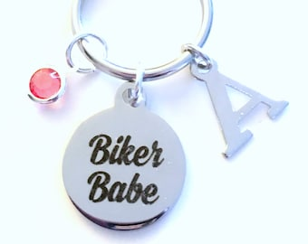 Biker Babe Key Chain, Gift for Biker Chick Motorcycle Keyring, Bike Keychain women, Birthday present initial letter custom Personalized her