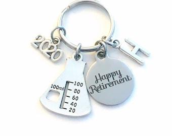 2020 Retirement Gift for Chemist Laboratory Tech Keychain, Chemistry Lab Beaker Key chain Keyring Retire Coworker Initial letter teacher him