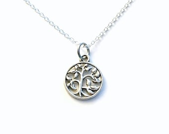 Silver Tree Necklace, Tree Charm Necklace, Family Tree Necklace, Tree of Life Necklace, Tree Jewelry, Tree Gifts for mom, Nature 20