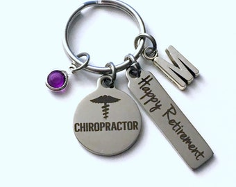 Retirement Gift for Chiropractor Keychain, Doctor Present, Women or Men Retire, Key Chain Keyring him her Personalized Back Dr woman man