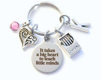 It takes a big heart to teach little minds Keychain, Gift for Kindergarten Teacher Key Chain, Preschool Keyring, Daycare Thank you Present