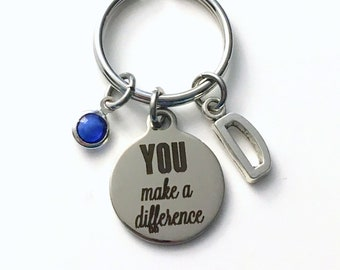 You make a difference Keychain,  Nanny Key Chain, Babysitter Keyring, Au Pair Birthstone Initial Personalized Customized women Pearl dangle