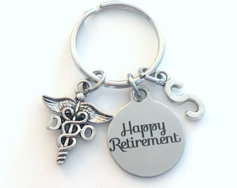 DO Retirement Keychain, Gift for Doctor of Osteopathic Key chain, Medical Caduceus Keyring Osteopath women men him her initial birthstone