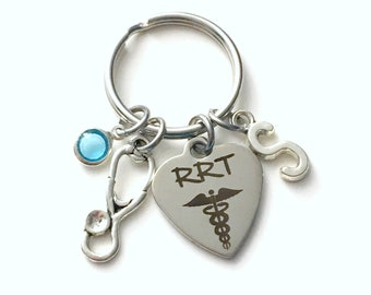 Gift for RRT Keychain, Registered Respiratory Therapist Key Chain, Stethoscope Keyring, Letter women her Birthstone Initial Present him men