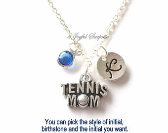 Tennis Mom Jewelry, Tennis Player's Mom Necklace, Gift for Mother Charm Personalized Initial Birthstone birthday gift Christmas present her