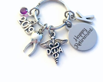 Retirement Gift for DA Keychain 2019 Caduceus Dental Assistant Key chain Keyring Retire Coworker Initial letter her him Dentist tooth teeth
